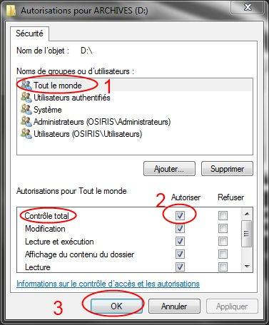 Partager dossiers ou partitions avec Windows 7 Droits13