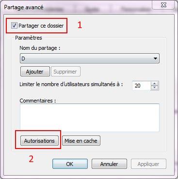 Partager dossiers ou partitions avec Windows 7 Droits16