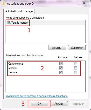 Partager dossiers ou partitions avec Windows 7 Droits17