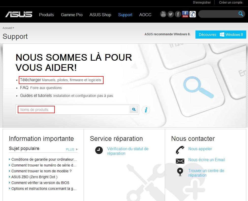 Trouver les drivers de sa configuration Site-asus
