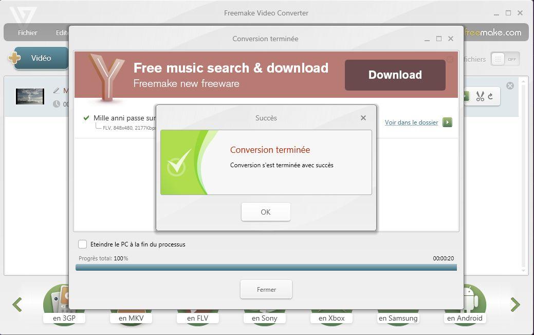 Conversion d'un fichier vidéo Freemake-10