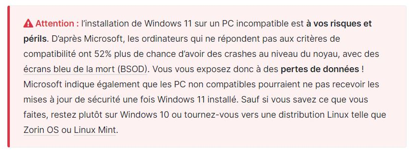 [DOSSIER] Windows 11 : installation en pratique N°2 Avertissement