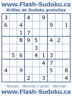 Flash-Sudoku.com 100000 Grilles de Sudoku [4X4 - 6X6 - 9X9 - Multi-Joueur]