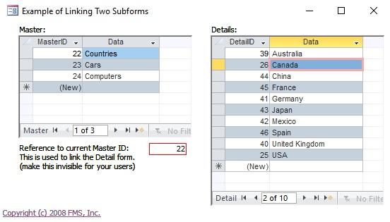 Sincronizar dois subformulários relacionados em um formulário do Microsoft Access. LinkedForm-Simple