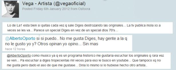 Vega acusa a TVE de promocionar el próximo disco de Daniel Diges 1