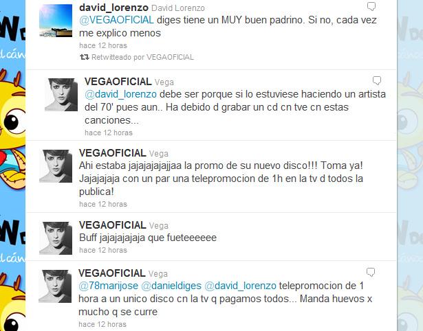 Vega acusa a TVE de promocionar el próximo disco de Daniel Diges 2