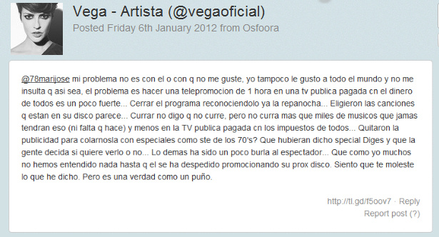 Vega acusa a TVE de promocionar el próximo disco de Daniel Diges 3