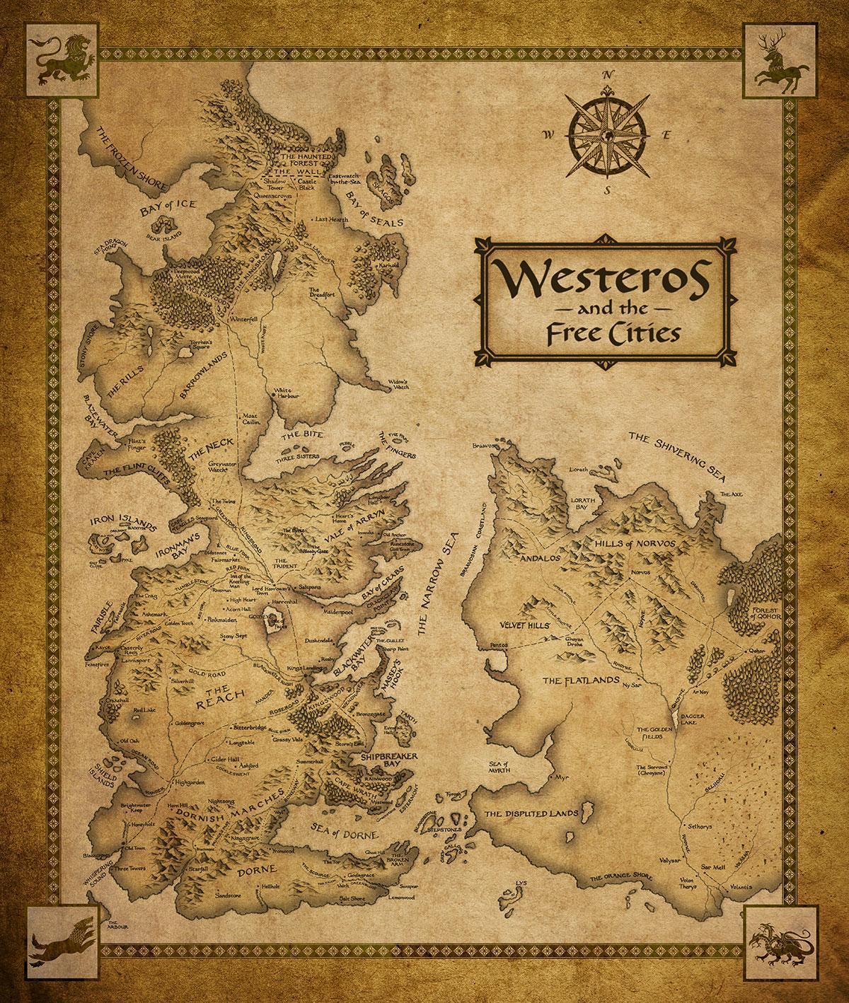Curiosidades de Juego de Tronos Game-of-Thrones-Houses-Map