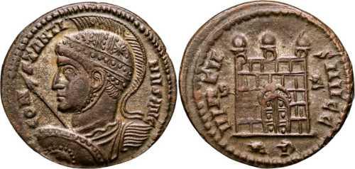 Reproducción de AE3 de Constantino I. VIRTVS AVGG. Roma 7rom178v