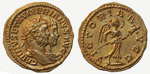Carus - Carinus - Numerien et Sol sur une même monnaie Carinvs_et_nvmerianvs_aureus