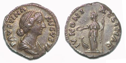 Ressemblance entre l'impératrice et l'empereur Faustine_ii_denier_junon
