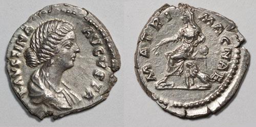 Ressemblance entre l'impératrice et l'empereur Faustine_ii_denier_matri_magnae