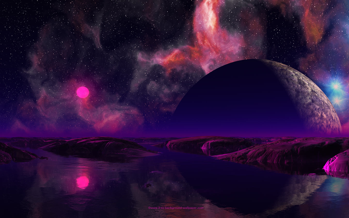 Anila, Goddess of the Elements Pink-sun-over-water-planet
