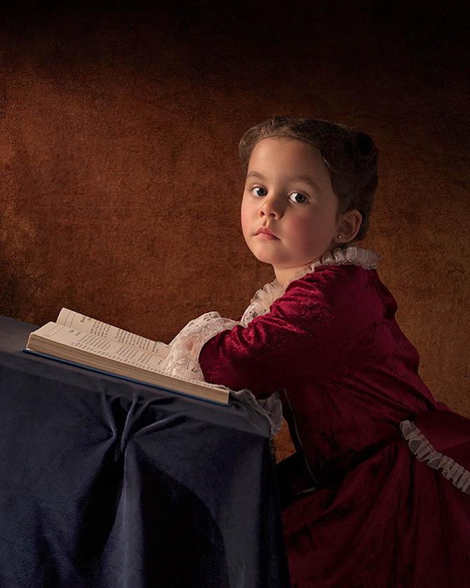 Фотопортреты дочери в стиле живописи 18-го века 8