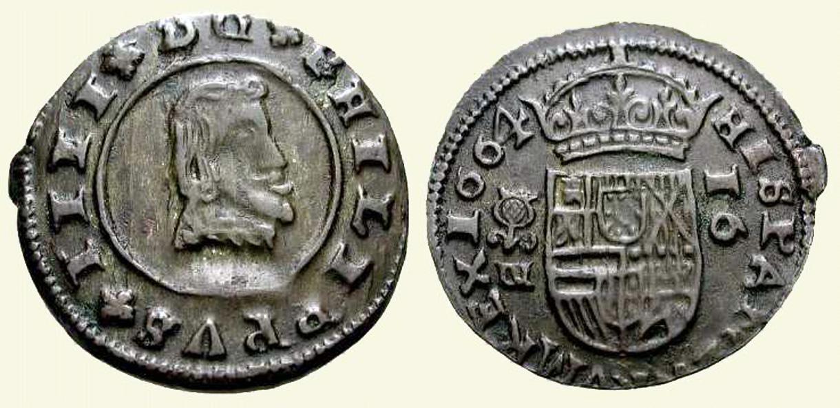 16 Maravedis de Felipe IV de 1664, Granada. 1664-16maravedis-granada-felipe4
