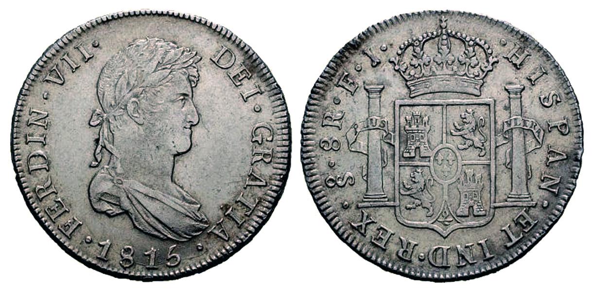 960 Reis 1819 brasileños acuñados sobre 8 Reales 1813 de Fernando VII 86-1815-8reales-santiago