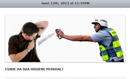 Policial que disparou spray de pimenta em jornalista vira meme Policial-01