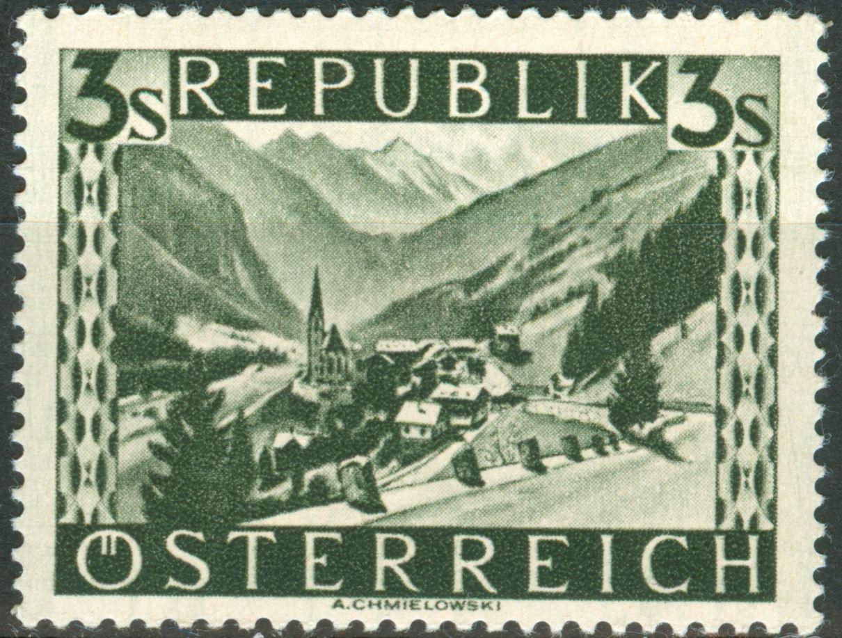 Landschaftsbilder Schillingausgaben ANK 767 - 774 At_1945_3s_10a