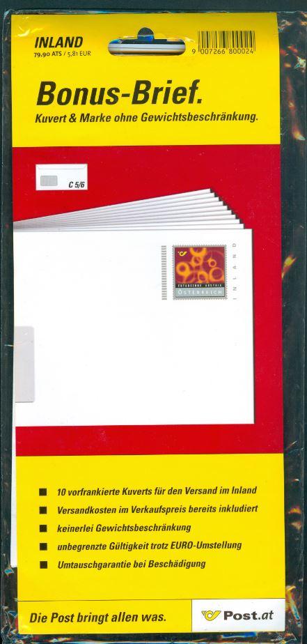Bonusbriefe der österreichischen Post At_2001_bonus_800024_00