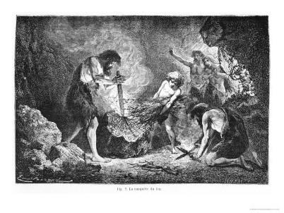 l'image de l'homme préhistorique - Page 3 Emile-antoine-bayard-conquest-of-fire-illustration-from-l-homme-primitif-by-louis-figuier-n-4050018-0