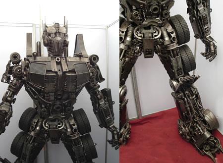 Statue réel - Statue géante en métal - Sculpture de glace - Réplique des TF des Films Transformers fait par des Fans Optimus-sculp