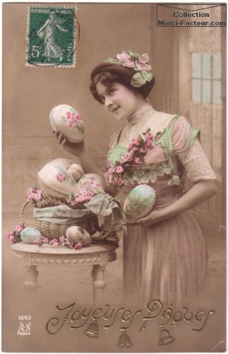 Bonjour ~ Bonsoir  - Page 12 Joyeuses-paques-carte-ancienne-femme-oeufs
