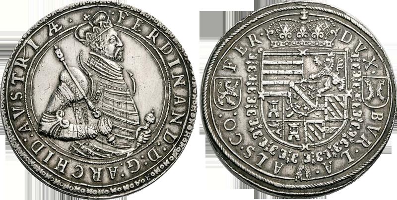 19. Doppeltaler, 2 Taler (120 Kreuzer) 1564-1595, à l'effigie et armorial de l'archiduc Ferdinand II, Ensisheim DoppelTalerFerdiII_1