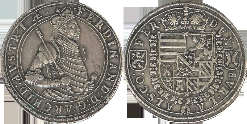 19. Doppeltaler, 2 Taler (120 Kreuzer) 1564-1595, à l'effigie et armorial de l'archiduc Ferdinand II, Ensisheim DoppelTalerFerdiII_2