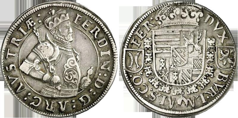 07. 1/4 Taler (15 Kreuzer) 1570, à l'effigie et armorial de l'archiduc Ferdinand II, Ensisheim   QuartTaler1570