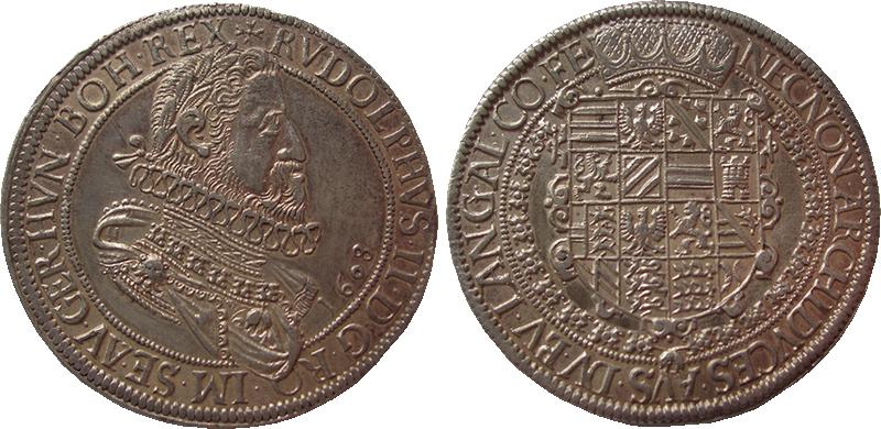 30. Taler (60 Kreuzer) 1608, à l'effigie et armorial de l'empereur Rodolphe II de Habsbourg, Ensisheim Taler1608