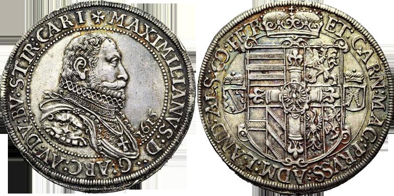 50. Taler (60 Kreuzer) 1615, à l'effigie et armorial de l'archiduc Maximilien III de Habsbourg, Ensisheim  Taler1615