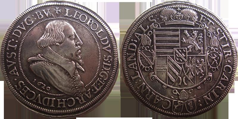 70. Taler (60 Kreuzer)  1620, à l'effigie et armorial de l'archiduc Léopold V (1620-1632), Ensisheim Taler1620