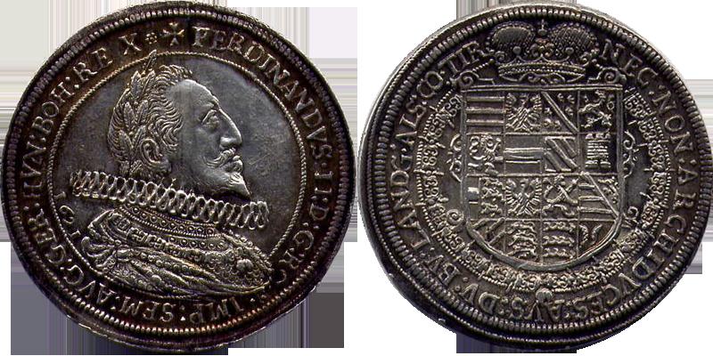 60. Taler (60 Kreuzer) 1621, à l'effigie et armorial de l'empereur Ferdinand II (1619-1637), Ensisheim Taler1621_1