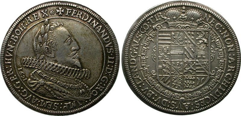 60. Taler (60 Kreuzer) 1621, à l'effigie et armorial de l'empereur Ferdinand II (1619-1637), Ensisheim Taler1621_2
