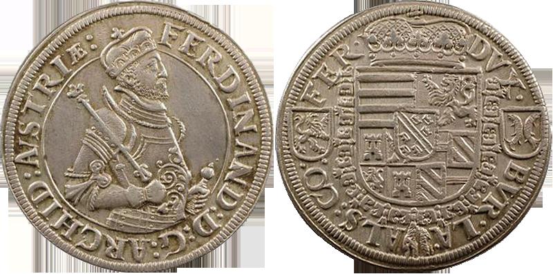 10. Taler (60 Kreuzer) 1564-1595, à l'effigie et armorial de l'archiduc Ferdinand II, Ensisheim TalerFerdiII_1