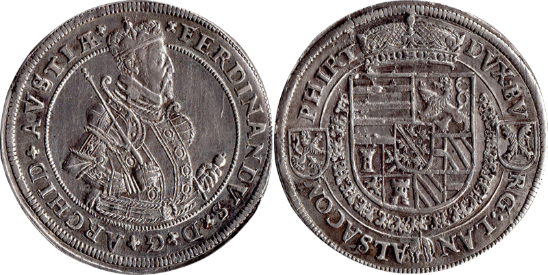 10. Taler (60 Kreuzer) 1564-1595, à l'effigie et armorial de l'archiduc Ferdinand II, Ensisheim TalerFerdiII_3