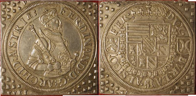 14. Taler Klippe (60 Kreuzer) 1564-1595, à l'effigie et armorial de l'archiduc Ferdinand II, Ensisheim TalerKlippeFerdiII
