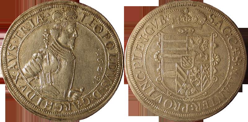76. Taler (60 Kreuzer) 1628, à l'effigie et armorial de l'archiduc Léopold V, Ensisheim   TalerLeopold1628