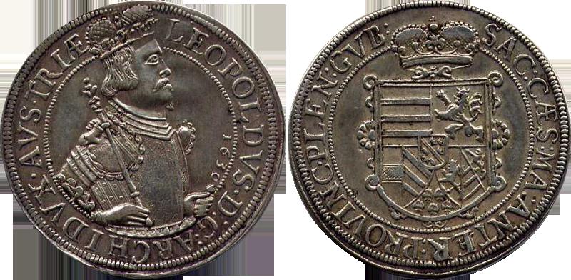 78. Taler (60 Kreuzer) 1630, à l'effigie et armorial de l'archiduc Léopold V, Ensisheim  TalerLeopold1630_1