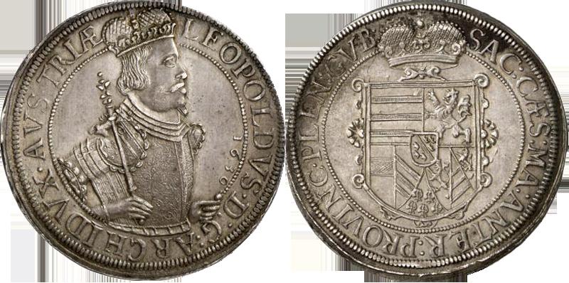 78. Taler (60 Kreuzer) 1630, à l'effigie et armorial de l'archiduc Léopold V, Ensisheim  TalerLeopold1630_2