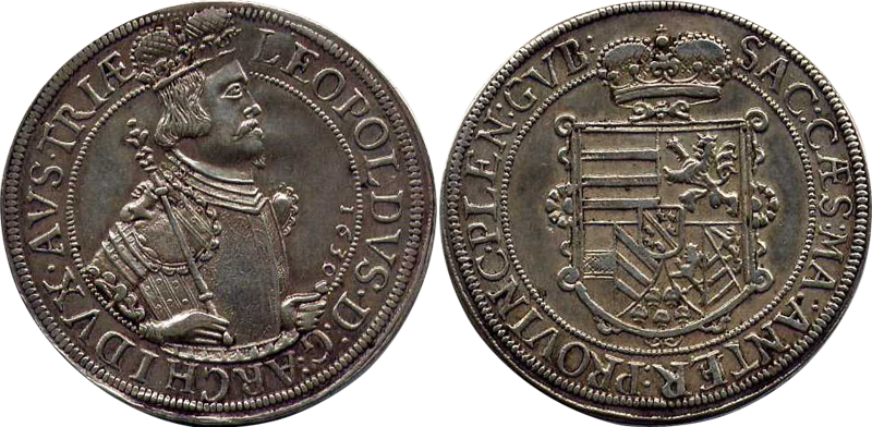 78. Taler (60 Kreuzer) 1630, à l'effigie et armorial de l'archiduc Léopold V, Ensisheim  TalerLeopold1630_3