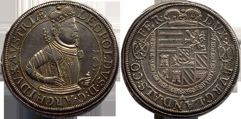 79. Taler (60 Kreuzer) 1631, à l'effigie et armorial de l'archiduc Léopold V, Ensisheim TalerLeopold1631