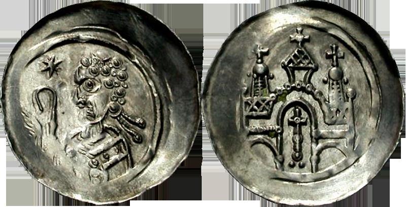 28. Denier (Pfennig) de l'abbaye de Seltz, vers 1200. Type à l'abbé bénissant, édifice 3 tours croix, grande croix dans porche DenierAbbe3Tours1