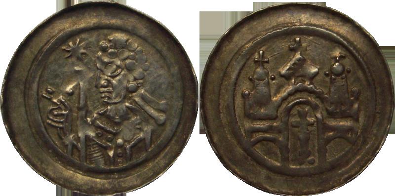 28. Denier (Pfennig) de l'abbaye de Seltz, vers 1200. Type à l'abbé bénissant, édifice 3 tours croix, grande croix dans porche DenierAbbe3Tours2