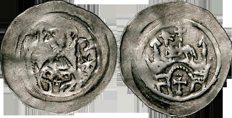 04. Denier (Pfennig) de l'abbaye de Seltz, avant 1190. Type à l'abbé bénissant, portail surmonté d'un agneau et d'une croix DenierAgneauCroix