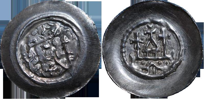 36. Denier (Pfennig) biface, type à l'édifice religieux à trois croix. Attribué à Strasbourg DenierEglise3Croix1