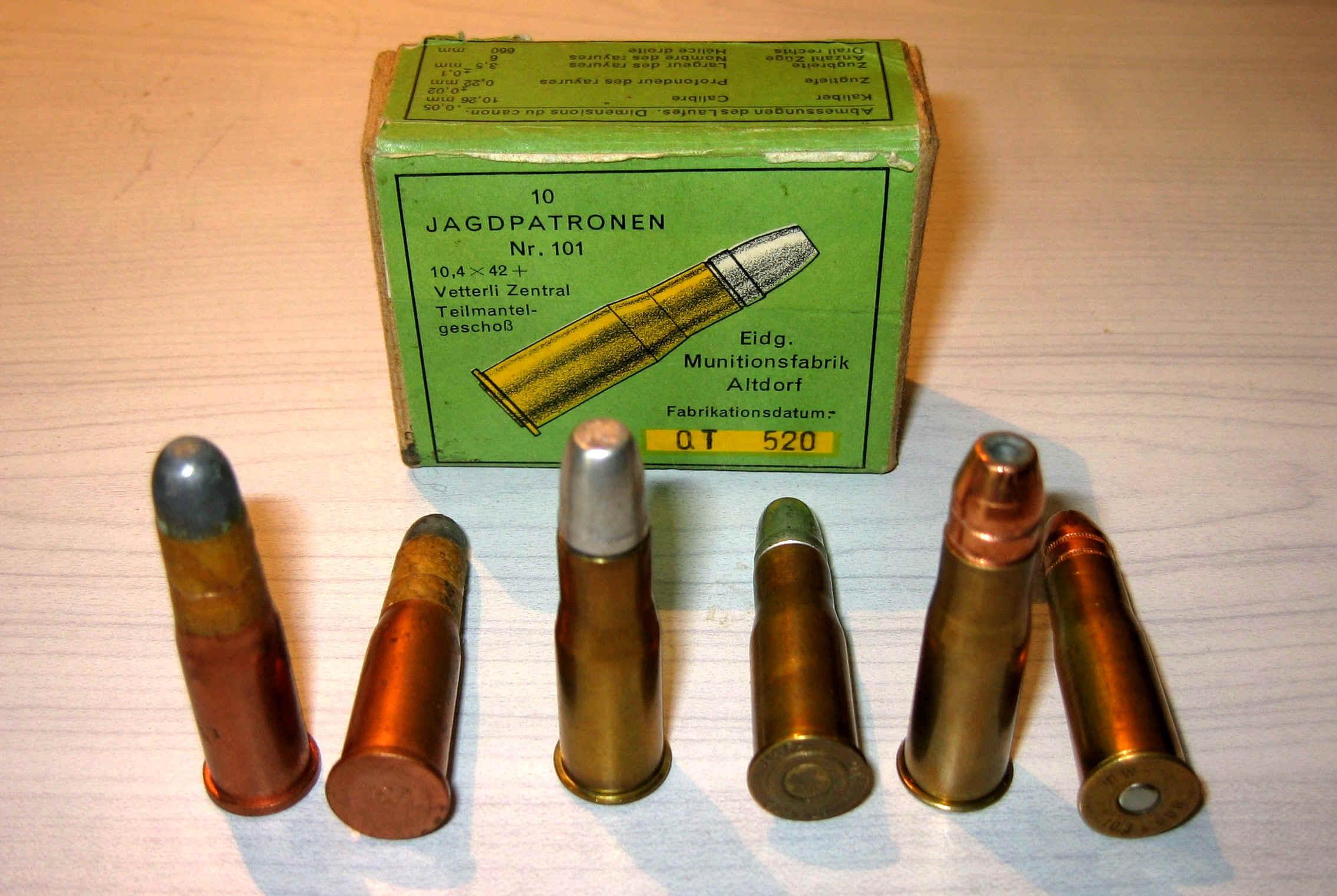 Munitions Peabody Suisse en 10,4 Vetterli Vetterli-Patronen-5
