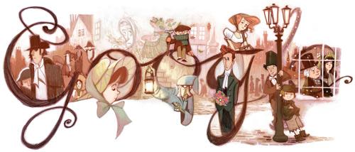 Une fermeture éclair sur la page d'accueil de google Dickens-2012-HP