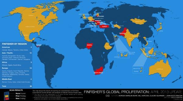 Finspy :  Le Spyware Britanique vendu à des régimes Autoritaires? FinFisher-map