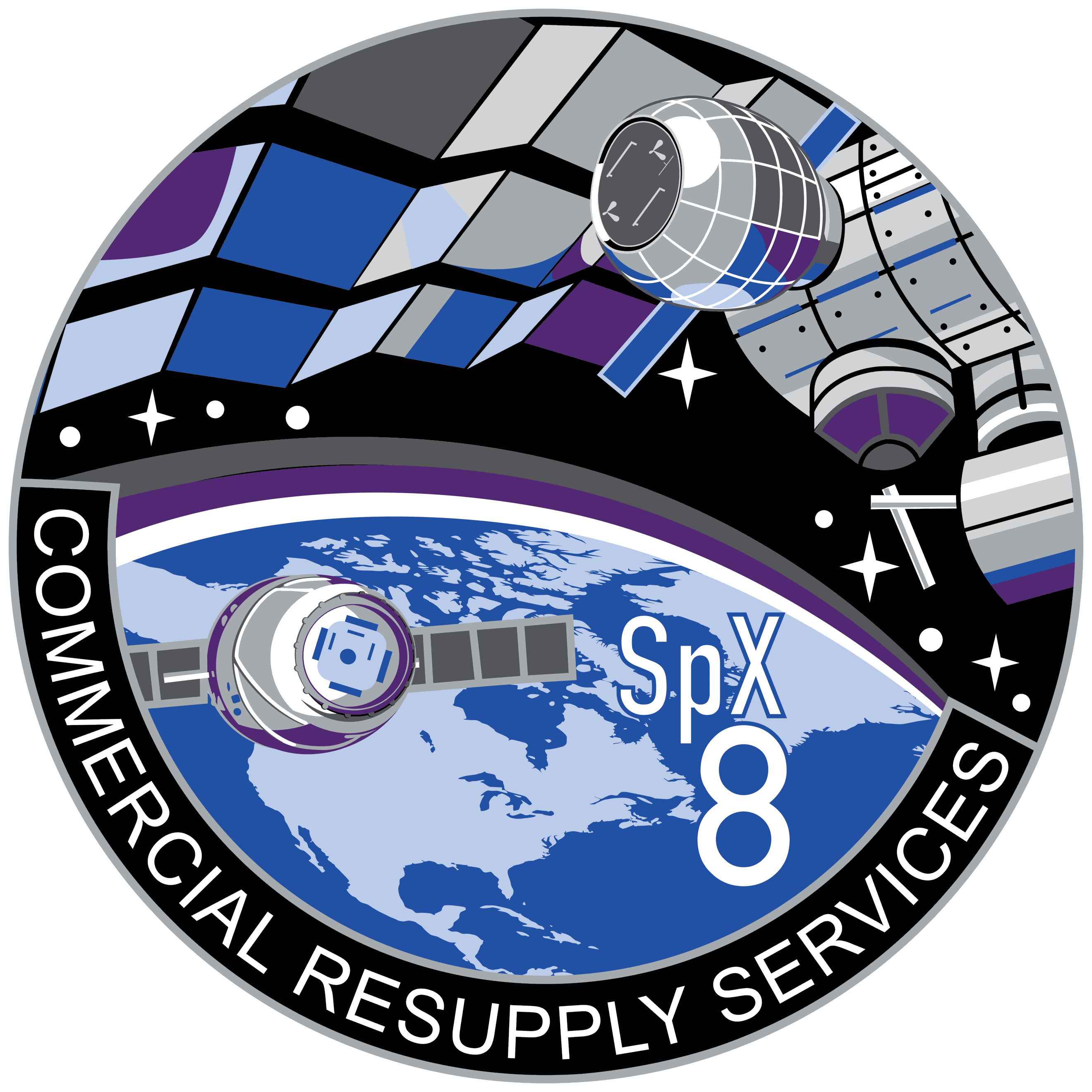 Lancement Falcon 9 / CRS-8 - 8 avril 2016 SpaceX_CRS-8_Patch